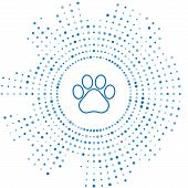 Blue Line Paw Print Icon Isolated On White Background. Dog Or Cat Paw Print. Animal Track. Abstract  poster