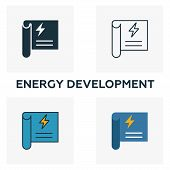 Energy Development Icon Set. Four Elements In Diferent Styles From Power And Energy Icons Collection poster