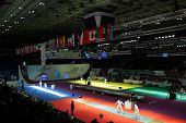 KIEV, UKRAINE - APRIL 14, 2012: Men's epee competitions during World Fencing Championship on April 1