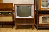 Vintage Television  Old Tv Old-fashioned Television Close Up. Old Grungy Vintage Tv Retro Technology poster