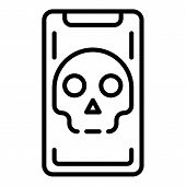Hacked Smartphone Icon. Outline Hacked Smartphone Vector Icon For Web Design Isolated On White Backg poster