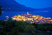 Town Of Korcula Panoramic Evening View, Historic Tourist Destination In Archipelago Of Southern Dalm poster