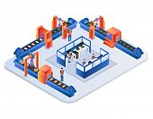 Factory Conveyor Belt. Robotic Arms Packing Production On Transporter Belt Line. Automation, Smart I poster