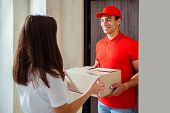 Friendly Young Mixed Race American Delivery Man In Red Uniform Delivering A Package. Friendly Delive poster