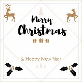 Christmas Holiday Season Background With Christmas Elements And Merry Christmas & Happy New Year Tex poster