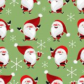 Santa Claus With Snowflakes Seamless Pattern. Cute Christmas Holidays Cartoon Character Background.  poster