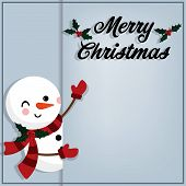 Christmas Holiday Season Background Of Snowman In Red Scarf, Snowflakes And Merry Christmas Text.  C poster