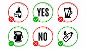 Tea Mug, Tea And Whiskey Glass Icons Simple Set. Yes No Check Box. Water Bottle Sign. Cup With Teasp poster