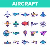 Collection Aircraft Elements Vector Icons Set Thin Line. Aircraft Commercial Air Transportation And  poster