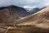 Himalayan landscape with road near Kunzum La pass - allegedly the highest motorable pass in the worl poster