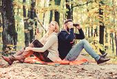 Couple In Love Tourists Relaxing Picnic Blanket. Man With Binoculars And Woman With Metal Mug Enjoy  poster
