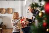 Happy grandmother giving christmas present to excited granddaughter. Cheerful little girl opening ch poster