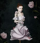 Surreal Young Girl In A Flower On A Dark Background - 3d Illustration poster