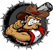 image of gaucho  - Baseball Cartoon of a Cowboy Vector Illustration - JPG