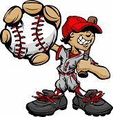 foto of hitter  - Baseball Boy Cartoon Player with Bat and Ball Vector Illustration - JPG