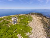Aerial View Of Straitsmouth Island Lighthouse On Straitsmouth Island, Rockport, Cape Ann, Massachuse poster