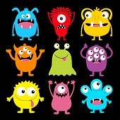 Cute Monster Colorful Round Silhouette Icon Set. Eyes, Tongue, Tooth Fang, Hands Up. Cartoon Kawaii  poster