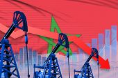 Morocco Oil Industry Concept, Industrial Illustration - Lowering, Falling Graph On Morocco Flag Back poster