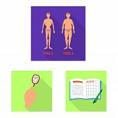 Vector Illustration Of Symptom And Disease Icon. Set Of Symptom And Treatment Stock Symbol For Web. poster