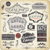 vector set: calligraphic design elements and page decoration, Premium Quality, Limited Edition and G