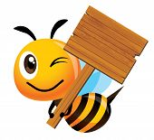 Cartoon Cute Smiling Bee Mascot Holding A Big Wooden Signboard - Vector Mascot Isolated poster