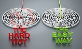 The Hard Way And The Easy Way Texts In Front Of Round Mazes. 3d Illustration. poster
