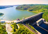 The Orlik Reservoir on Vltava River is largest hydroelectric dam in Czech Republic. Aerial view to i poster