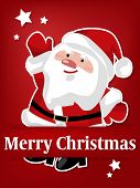 Vector Illustration Of Paper Art Carving Of Santa Claus Under Merry Christmas Text In White On Red B poster