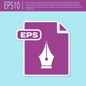 Retro Purple Eps File Document. Download Eps Button Icon Isolated On Turquoise Background. Eps File  poster