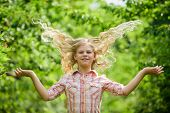 Long And Healthy Hair. Happy Little Girl With Long Healthy Hair. Hair Health And Care. Hairdresser F poster