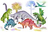 Illustration Of Dinosaurs In Jurassic Period. World Of Prehistoric Animals. Image Of Ancient Imagina poster