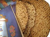 picture of matzah  - Jewish Holidays: Traditional Matzah Laid Out on Passover Seder Table