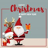 Christmas Cartoon Of Santa Claus, Snowman, Reindeer And Gift Box. Cute Christmas Holidays Cartoon Ch poster