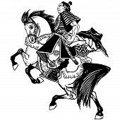 Asian Cavalry Warrior. Japanese Samurai Horseman Sitting On Horseback, Wearing Medieval Leather Armo poster