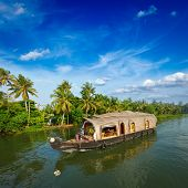 picture of houseboats  - Houseboat on Kerala backwaters - JPG