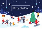Winter People Merry Christmas Card. Snow Activities, Happy Kids Make Snowman And Xmas Holiday Postca poster