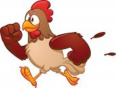 Cartoon running chicken. Vector illustration with simple gradients. All in a single layer.