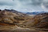 View of Himalayas near Tanglang la Pass - mountain pass in Himalayas along the Leh-Manali highway. L poster