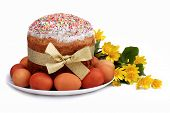 pic of easter_break  - Bright Easter composition of cakes and spring flowers - JPG