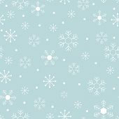 Seamless Pattern Cold Winter In Christmas Day With Cute Cartoon Snowflakes In Different Size On Blue poster