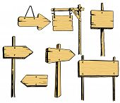 Arrows Pointers, Signs, Column With Pointers. Vector Set Of Wooden Signs poster