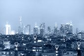 Location Gps  Or Map Pin Flat Above Blue Tone City Scape And Network Connection Concept. Blue Tone C poster