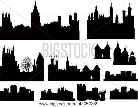 Постер, плакат: Иллюстрация с замки и башни силуэты коллекции, холст на подрамнике