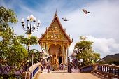 picture of sanctification  - Beautiful Buddhist temple in Thailand from the front - JPG