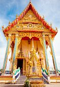 image of sanctification  - Front of a beautiful Buddhist temple in Thailand - JPG