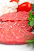 image of shabu  - raw fresh Kobe Miyazaky beef with rosmary and marjoram - JPG