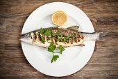stock photo of plate fish food  - Grilled sea bass on a plate - JPG
