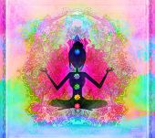 picture of padmasana  - Yoga lotus pose Padmasana with colored chakra points  - JPG