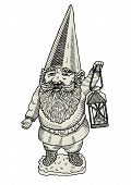 image of  midget elves  - Vector illustration of garden gnome with a lantern - JPG