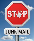 stock photo of no spamming  - stop junk mail no spam or spamming e - JPG